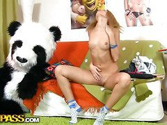 This toys porn episode starts in a very sinless way - a cute legal age teenager gal is reading a book, leaning on her large panda bear toy. What a good girl! Don't know which book it was, but it made the chick extremely aroused. This Babe started touching herself, and pretty soon the book was replaced by an enomous sex toy. Then the horny chick decided to go for fun sex with her panda bear, who was equipped with a dong penis just in case. They did it on the floor and on the couch, in so many poses and with such drive! U hav...