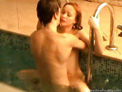 Check out this wicked redhead legal age teenager going skinny dipping with one of her male allies. This Hottie thinks that it`s just the two of 'em and that that babe can do whatsoever that babe wants out of anyone else ever finding out, but secretly outside the pool, is a voyeur photographer. That Guy`s filming throughout the window, looking in at the indoor pool and those two teenies getting very wicked. And it`s not lengthy in advance of they`re doing a lot more than just skinny dipping. Pretty Soon this legal age teenager mounts her paramour right in the pool. It doesn`t stop there either!