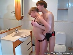 This teeny is one sexy little thing and her cum-hole is always wet and ready to take a firm bushy wang unfathomable inside. Her apartment is a crowded place tonight and this babe pulls this sexy guy away from the guests to get down and impure right in a tiny bath. Fucking on a sink and even on a toilet pan makes her cum so hard that her moans of pleasure are heard all over the place. What a loud slut!