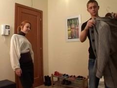 Horny redhead slut in black nylons spreds her legs for sex